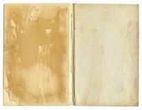 以老开放纸概略的纹理为特色的书 免版税图库摄影
