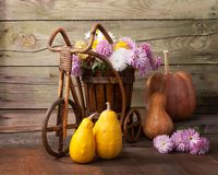 以老木墙壁为背景的南瓜和菊花束 免版税库存照片