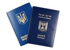 以色列和乌克兰护照 免版税图库摄影