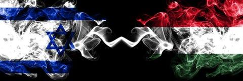 以色列对匈牙利,肩并肩被安置的匈牙利发烟性神秘的旗子 厚实色柔滑抽以色列和匈牙利的旗子, 向量例证