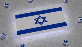 以色列旗子蓝色白色星 库存例证
