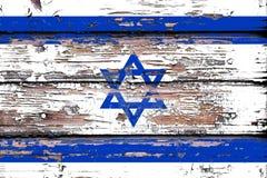 以色列的国旗木背景的 库存照片