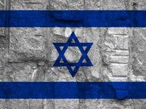 以色列的旗子背景石头纹理的 免版税库存图片