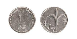 以色列的硬币 在以色列一枚新的锡克尔硬币描述的百合花 在一个空白背景的查出的对象 库存图片