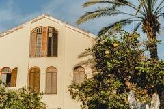 以色列老大厦在尼夫tzedek 旅游地方在特拉唯夫 中东建筑学  库存图片