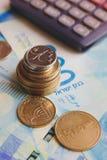 以色列金钱钞票和硬币锡克尔 库存照片