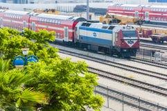 以色列铁路的铁路联轨点位于Lod的 库存图片