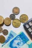 以色列锡克尔 钞票和硬币 免版税库存照片