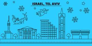 以色列,特拉维夫寒假地平线 圣诞快乐,新年快乐装饰了与圣诞老人的横幅 以色列,Tel 向量例证