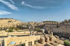 以色列,耶路撒冷2017年9月15日,在粪门的看法,从一个高观点,人们出出进进 免版税库存照片