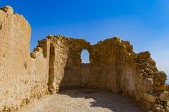 以色列,马萨达堡垒废墟- 免版税库存图片