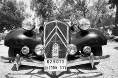 以色列, PETAH TIQWA - 2016年5月14日:技术古董的陈列 经典雪铁龙汽车在Petah Tiqwa,以色列 免版税库存照片