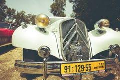 以色列, PETAH TIQWA - 2016年5月14日:技术古董的陈列 经典雪铁龙汽车在Petah Tiqwa,以色列 免版税图库摄影