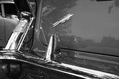 以色列, PETAH TIQWA - 2016年5月14日:技术古董的陈列 老汽车背面图在Petah Tiqwa,以色列 库存图片