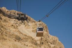 以色列-南-马萨达-空中索道支架从Masa去 库存照片
