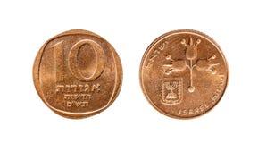 以色列10 Agorot 在一个空白背景的查出的对象 图库摄影