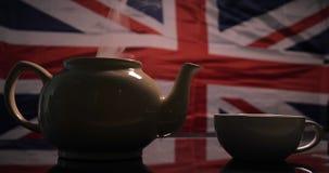 以英国旗子为背景酿造了茶 股票录像