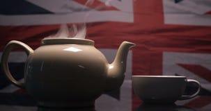 以英国旗子为背景酿造了茶 影视素材
