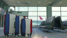以荷兰的旗子为特色的旅行手提箱 荷兰旅游业概念性动画 股票录像