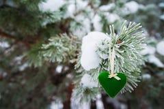 以透明球,毛毡的心脏的形式在圣诞树积雪的分支,圣诞节装饰垂悬 免版税库存图片