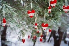 以透明球,毛毡的心脏的形式在圣诞树积雪的分支,圣诞节装饰垂悬 库存照片