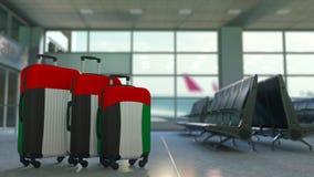 以阿联酋的旗子为特色的旅行手提箱 阿拉伯联合酋长国旅游业概念性动画 股票视频
