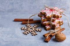 以雪花的形式,表面上,有几块姜饼和几根肉桂条 免版税库存照片