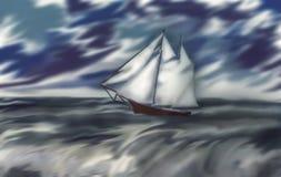 以风暴天空为背景的一条风船 免版税库存照片