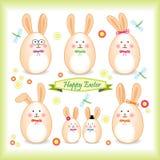 以鸡蛋形式的复活节兔子系列 库存照片