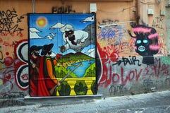 以pulcinella为特色的那不勒斯的街道艺术 免版税库存图片