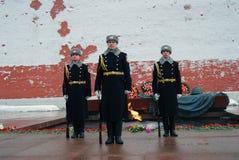 仪仗队更改。 三位战士。 免版税库存图片