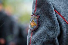 仪仗队的步兵制服的细节154 Preobrazhensky Regimentat庄严的事件 免版税库存图片