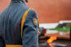 仪仗队的步兵制服的细节154 Preobrazhensky Regimentat庄严的事件 库存图片