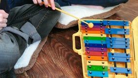 仪器音乐使用 特写镜头男孩和老师` s递使用在木琴 影视素材