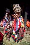 仪式少许尼泊尔执行教士puja二 免版税库存照片