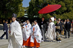 仪式日本神道的信徒的婚礼 库存图片