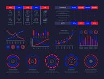 仪表板infographic hud图连接分析例证数据透视经营战略处理传染媒介 库存例证