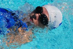 仰泳游泳者 免版税图库摄影