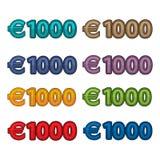 价格1000欧元,欧洲货币例证传染媒介  库存图片