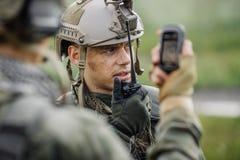 任命举行军官电台,并且给命令细分 库存图片