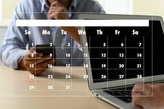 任命提示排进日程的和组织者议程 免版税库存图片