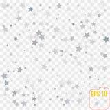 任意落的银色星的抽象样式在透明的 库存例证