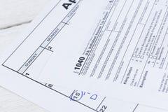 1040份表单税务 美国单独收入税单形式 库存照片