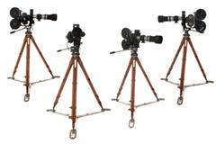 仿古广播许多照相机的影片positio卷轴 免版税库存照片