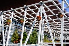 仿照建筑学样式的木树荫处 库存图片