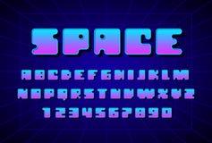仿照80s样式的减速火箭的字体 大写字目和数字 免版税库存照片