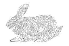 仿照zentangle样式的兔子复活节和彩图的 向量例证