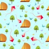 仿造与野营的帐篷、树、风筝和鸟设计传染媒介例证,旅行样式的纹理 向量例证