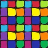 仿造从不同的颜色正方形曲线的无缝的摘要与一个黑概述的 对瓦片,布料 库存图片