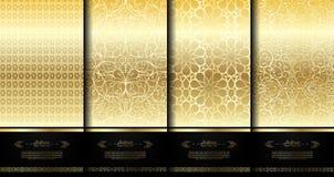 仿造伊斯兰教的元素优等的金子蔓藤花纹背景templat 皇族释放例证